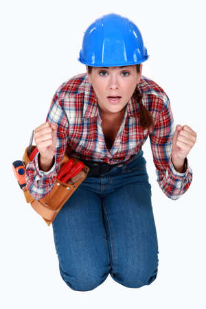 cagey: Tradeswoman waiting in anticipation