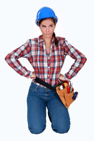 Frustrated female builder Stock Photo - 14195150