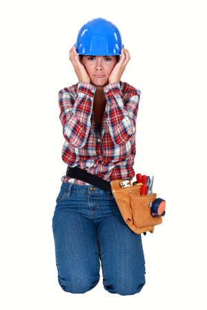 craftswoman: craftswoman sulking Stock Photo