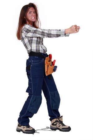demented: Furious female worker