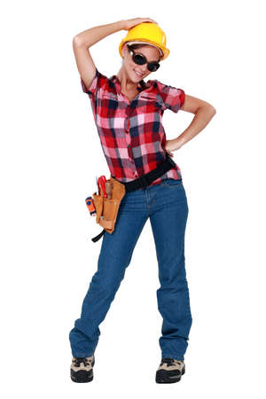 sexy construction worker: A sexy female construction worker.