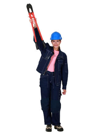 servicewoman: Confident woman with boltcutters