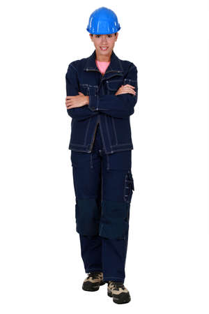 young engineer: Full length portrait of a female labourer Stock Photo