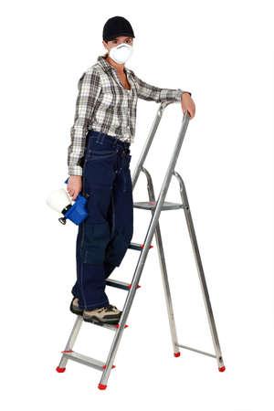 housepainter: Woman housepainter, studio shot