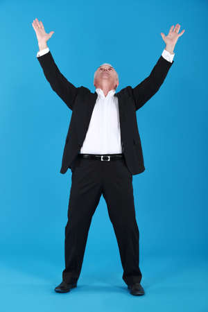 senior businessman raising his hands Stock Photo - 14194854