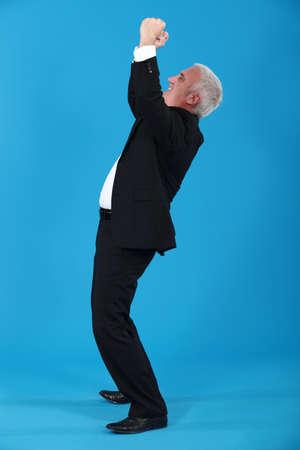 euphoric: Anziani uomo euforico Archivio Fotografico