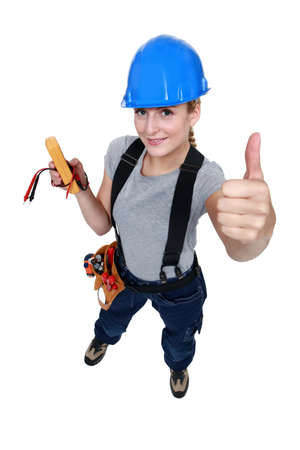 female electrician thumb up photo