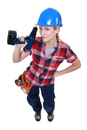 Attractive female carpenter Stock Photo - 14195421