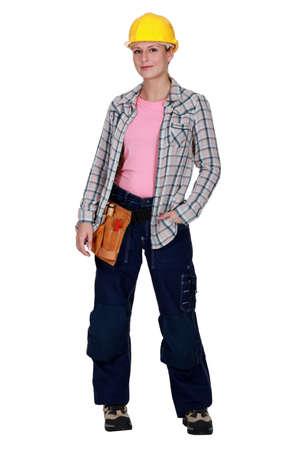 servicewoman: Female construction worker
