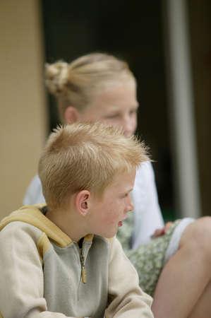 blond boy: Children listening