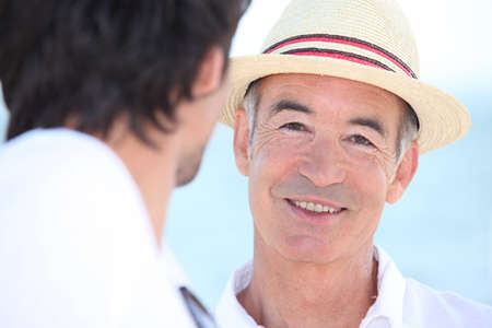 senior adult man: Smiling men in the sunshine