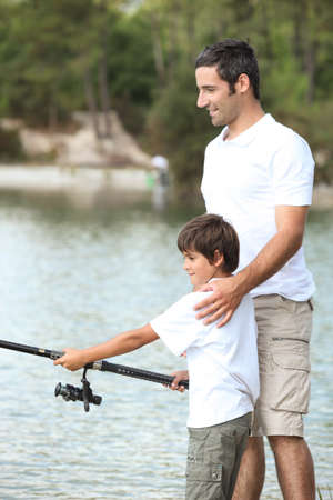 Father and son fishing Stock Photo - 14212655