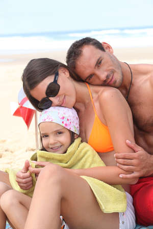 head wear: Family at the seaside