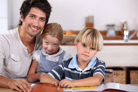 Parents with young children Stock Photo