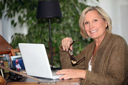 freelance: Woman working at home Stock Photo