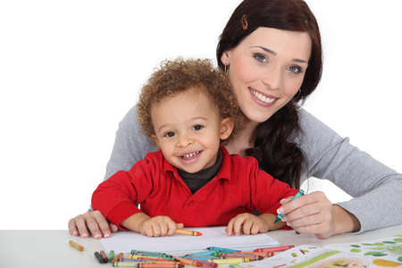 Woman and child colouring photo