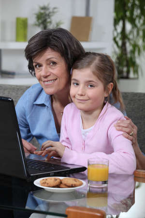 Young girl spending time with grandma Stock Photo - 14213390