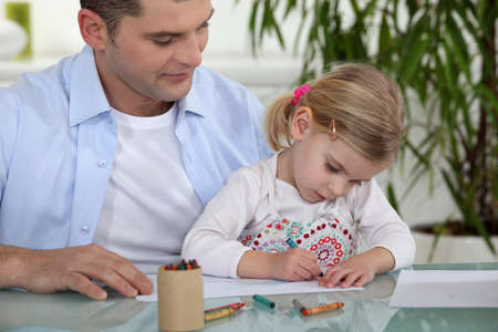 Father and daughter drawing Stock Photo - 14214439