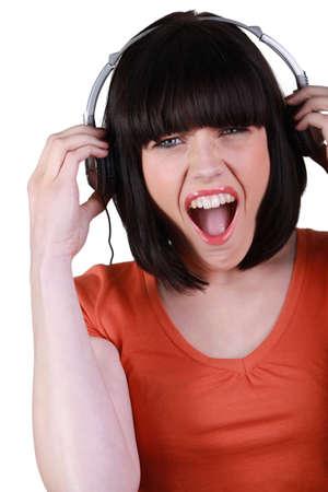 Woman listening to music photo