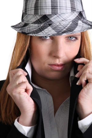 chic woman: Chic woman in a hat