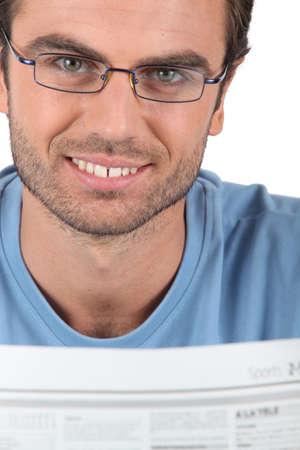 Man reading the newspaper photo