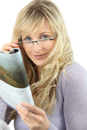 mecha: Blonde woman with glasses