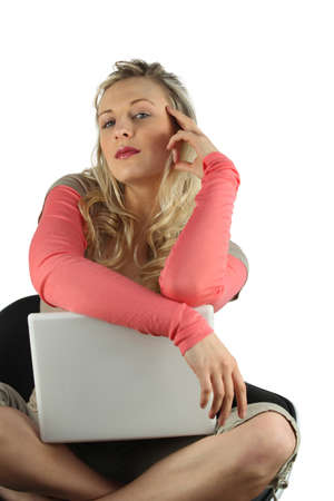 narcissist: Woman sitting cross-legged with her laptop