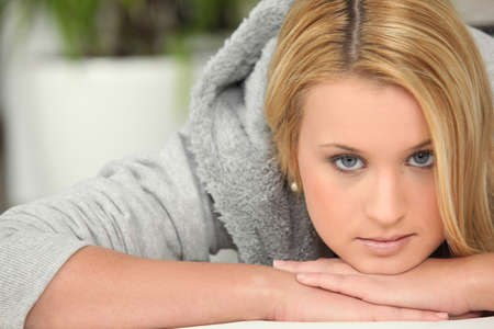 Woman in a grey sweatshirt Stock Photo - 14214820