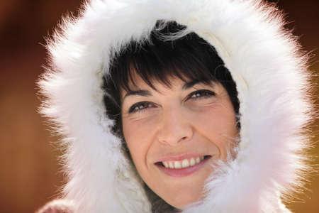 Woman wearing fur hood Stock Photo - 14212000