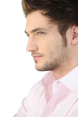 hombre de perfil: Retrato de un hombre joven, vista de perfil Foto de archivo