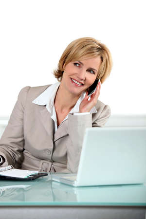 secretarial: Blonde woman with telephone and computer