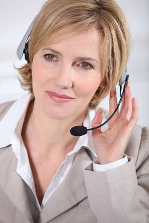 incoming: Portrait of a call centre agent Stock Photo