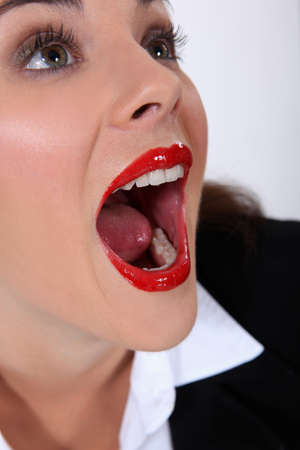 woman open mouth: Portrait of woman with mouth open Stock Photo