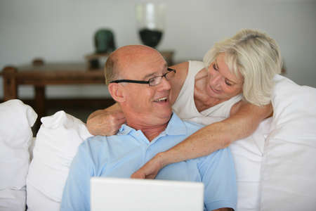 mid adults: Senior couple with a laptop Stock Photo