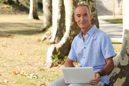 Man with computer Stock Photo - 14214239
