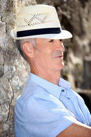 Senior man relaxing in the sunshine Stock Photo - 14214827