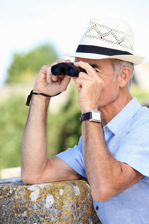 Man birdwatching Stock Photo - 14214618