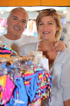 about age: Mature couple in a store Stock Photo