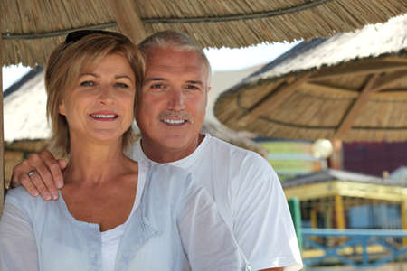 union beach: Middle-aged couple on holiday
