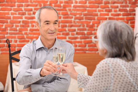 Elderly couple celebrating anniversary Stock Photo - 14213698
