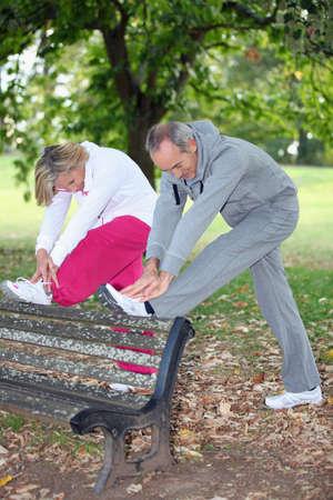 age care: Senior people doing gymnastics
