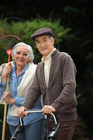 Senior couple in the garden Stock Photo - 14203444