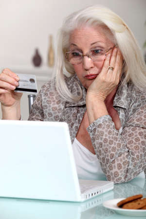 one senior woman only: Elderly lady confused by prospect of shopping on line