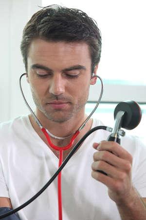 Man taking blood pressure photo