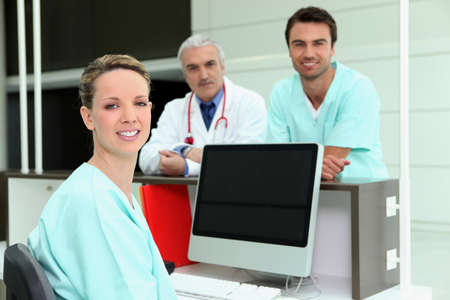 hospital gown: Healthcare professionals Stock Photo