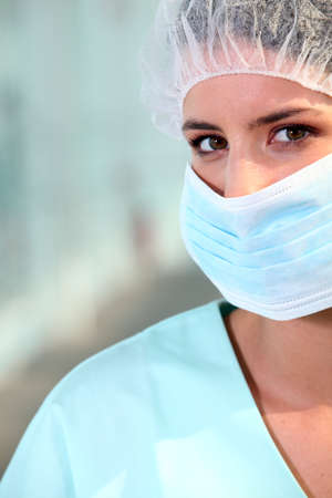 pacjent: pielęgniarka noszenie maski chirurgicznej