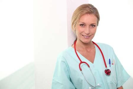 nursing staff: Female medic in scrubs Stock Photo
