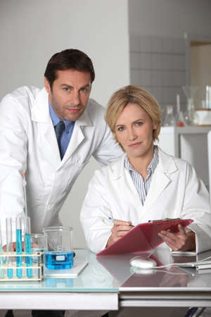 Man and woman in laboratory Stock Photo - 14206071