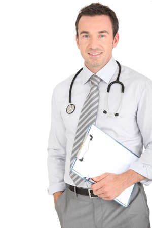 Male doctor holding patients results