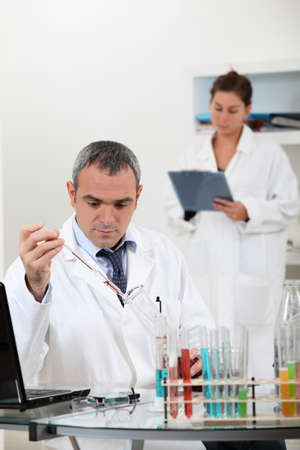 precipitate: a scientist using test tubes Stock Photo